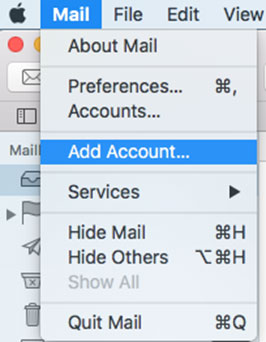 Setup FAST-MAIL.ORG email account on your Appie Mail Step 1
