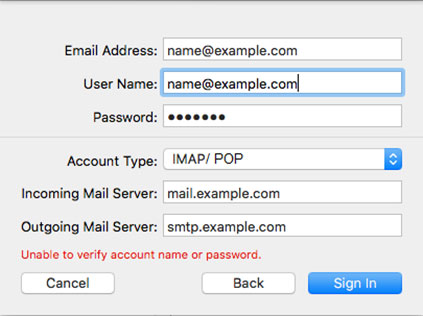 Setup DC.RR.COM email account on your Apple Mail 4
