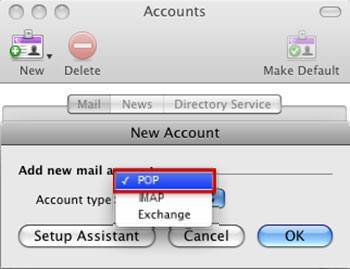 Setup EMAIL.IT email account on your Entourage Step 3