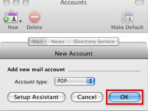 Setup EMAILCORNER.NET email account on your Entourage Step 4
