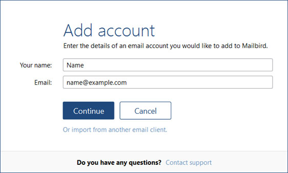 Setup EMAIL.IT email account on your MailBird Lite Step 3