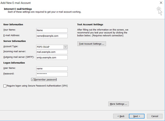Setup EMAIL.IT email account on your Outlook 2007 Manual Step 6