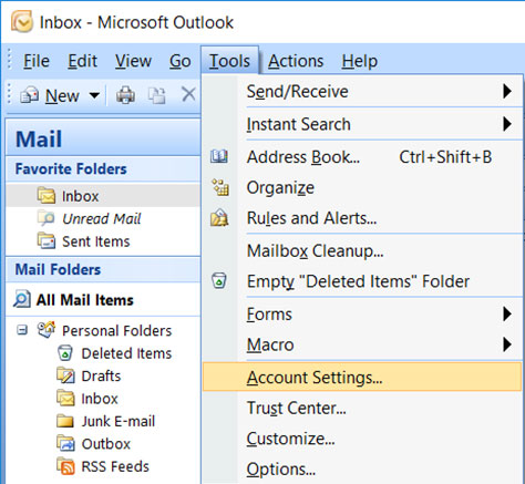 Setup YANDEX.KZ email account on your Outlook 2007 Mail Step 1