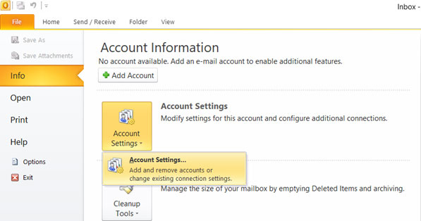 Setup YANDEX.KZ email account on your Outlook 2010 Step 1