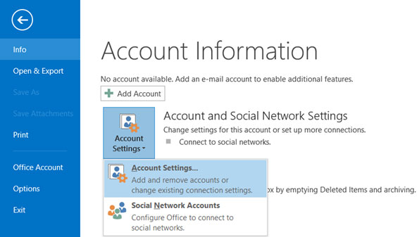 Setup T-COM.VZ email account on your Outlook 2013 Manual Step 1