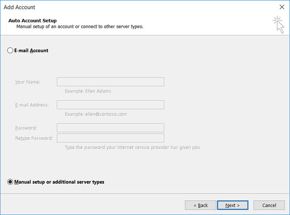 Setup EMAILCORNER.NET email account on your Outlook 2013 Manual Step 2