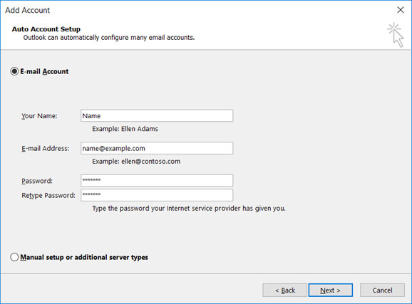 Setup EMAIL.IT email account on your Outlook 2010 Step 2