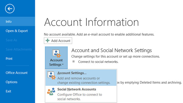 Setup YAHOO.CO.IN email account on your Outlook 2016 Manual Step 1 - Method 1