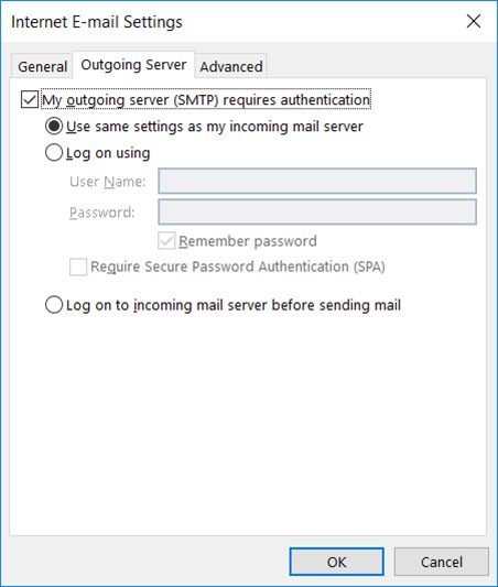 Setup FAST-MAIL.ORG email account on your Outlook 2016 Manual Step 5 - Method 1