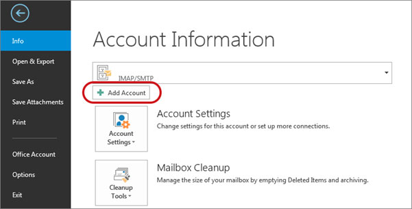 Setup FAST-MAIL.ORG email account on your Outlook 2016 Manual Step 1 - Method 2