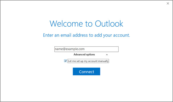 Setup NYCMNY.RR.COM email account on your Outlook 2016 Manual Step 2 - Method 2