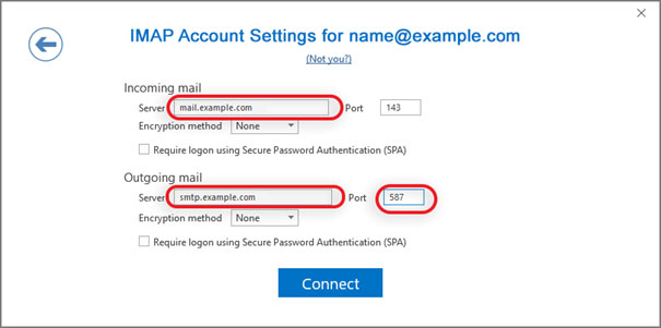 Setup EMAILCORNER.NET email account on your Outlook 2016 Manual Step 4 - Method 2