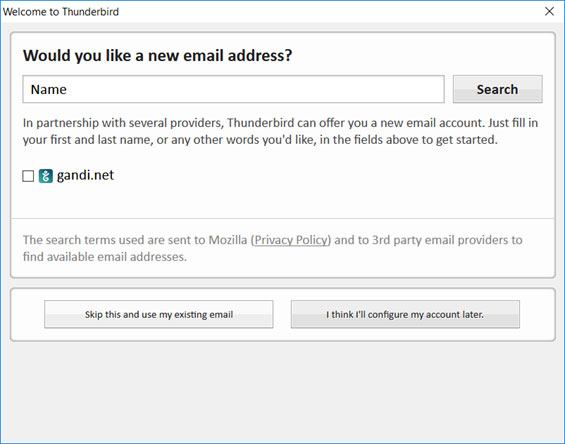 Setup EMAILCORNER.NET email account on Thunderbird email client Step 2