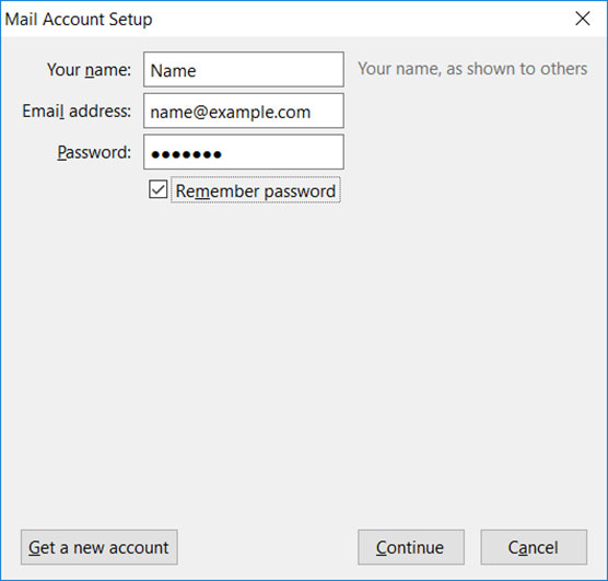 Setup FAST-MAIL.ORG email account on Thunderbird email client Step 3