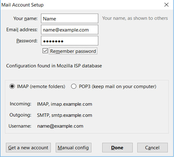 Setup EMAILCORNER.NET email account on Thunderbird email client Step 4-IMAP